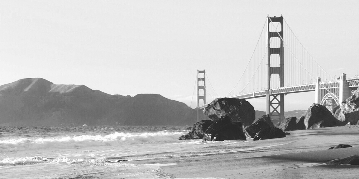 Black & white image of the Golden Gate bridge looking towards Marin from SF