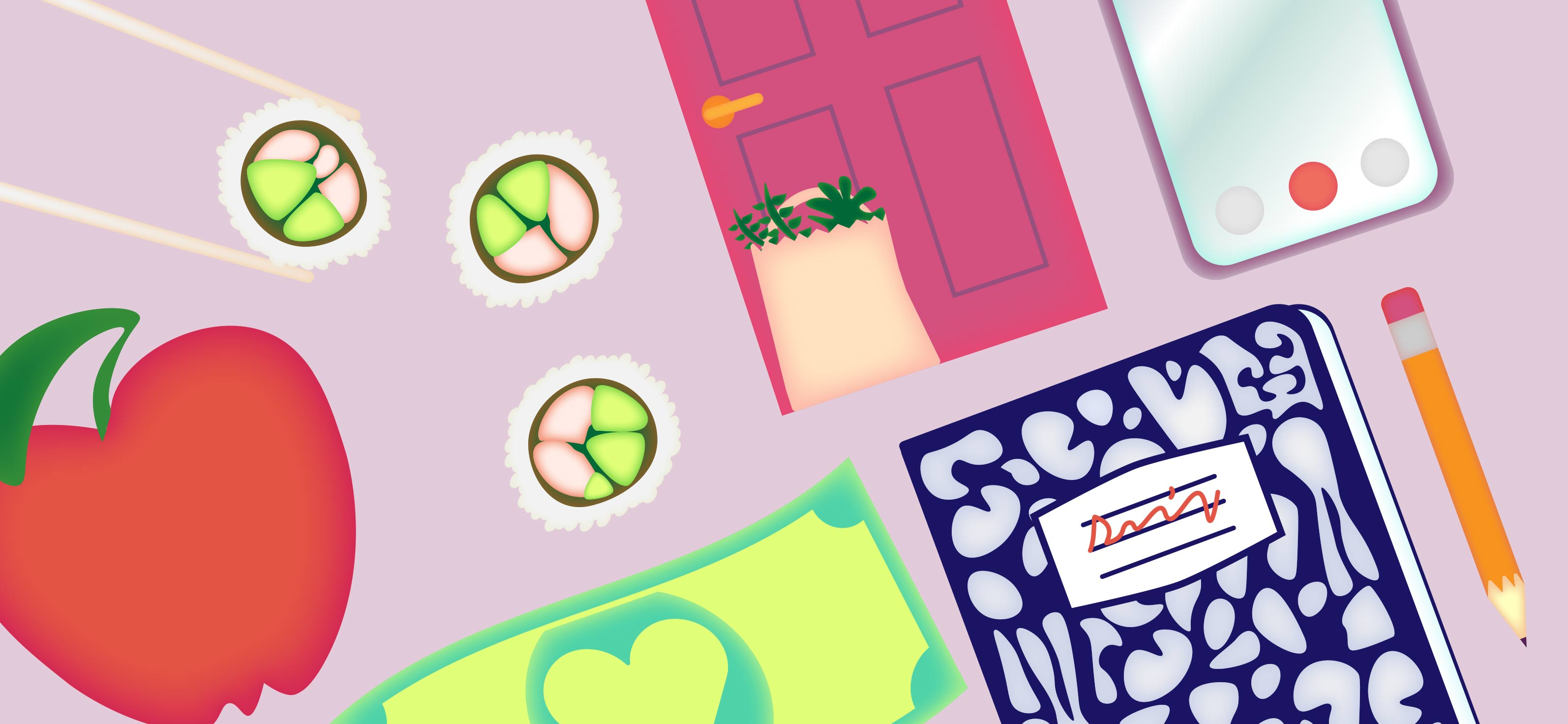 colorful image of sushi, apple, groceries left by neighbor's door