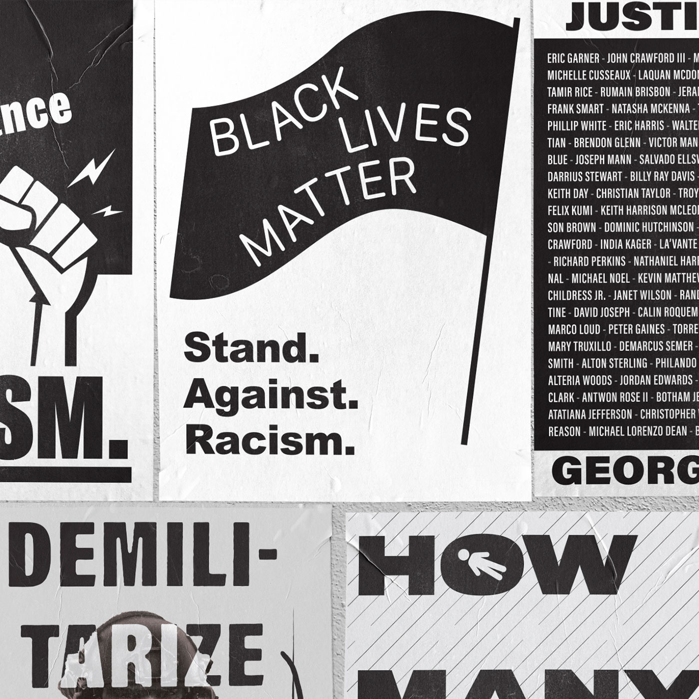 collection of black & white posters protesting police brutality and systemic racism